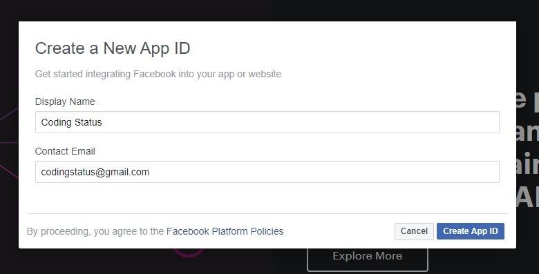 facebook app details
