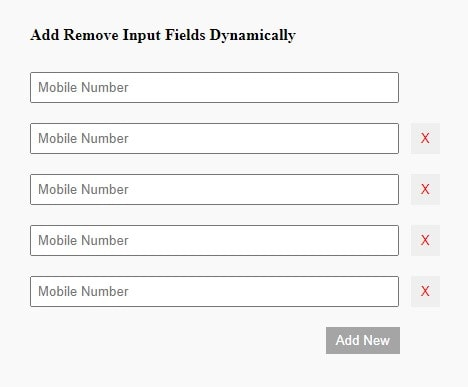 add remove input fields using jquery
