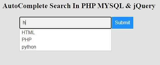 autocomplete search in php
