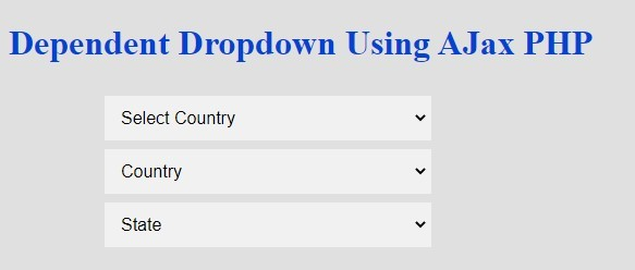 dependent dropdown using ajax php