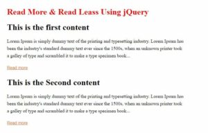 read more read less using jquery