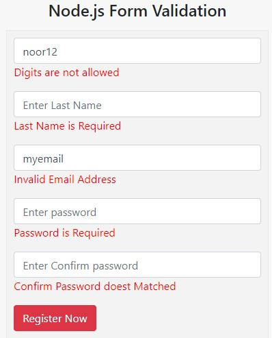 node.js form validation