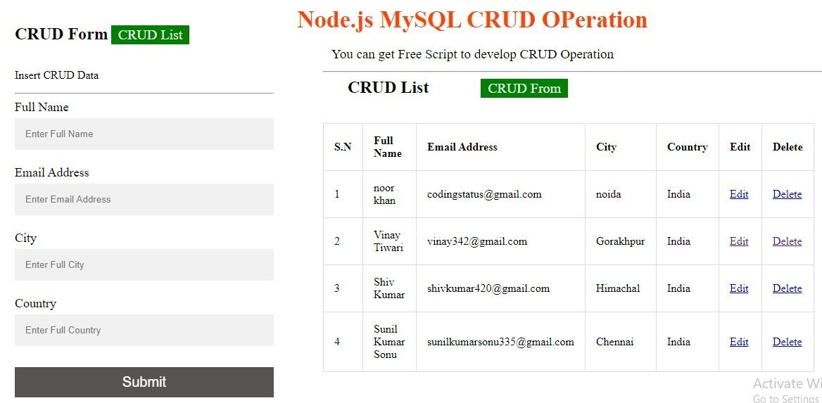 Node.js Mysql CRUD operation
