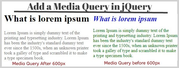 add media queery in jquery