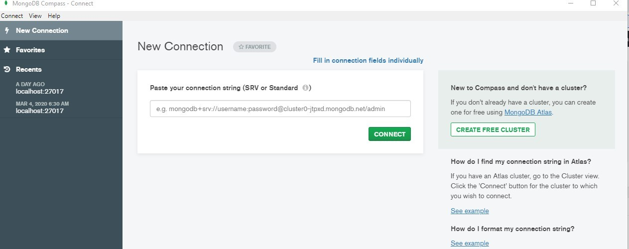 connect mongodb to local host