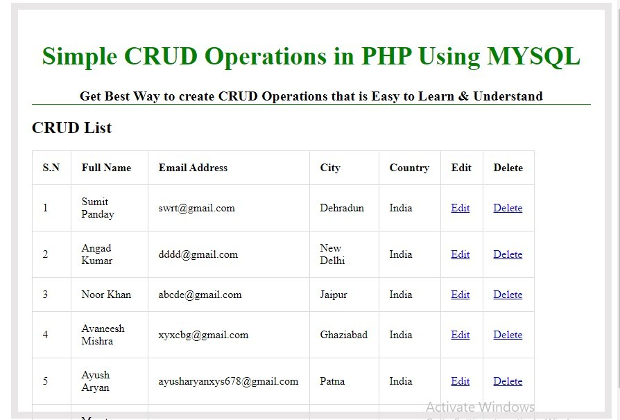 crud operations in php