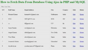 fetch data using ajax in php