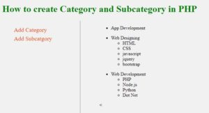 add category and subcategory in php