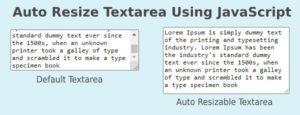 auto resize textarea height using javascript