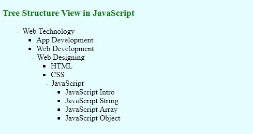 Tree structure in javascript
