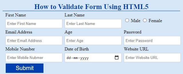 html5 form validtion