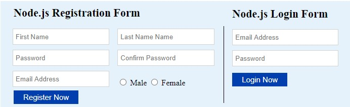 registration and login form in node.js, mysql