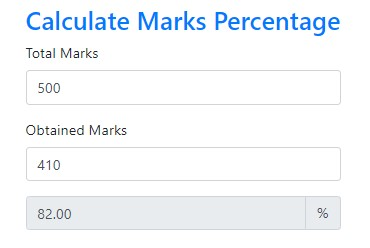 calculate marks percentage in javascript