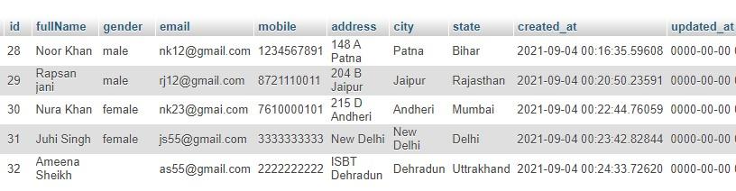 insert data into phpmyadmin table